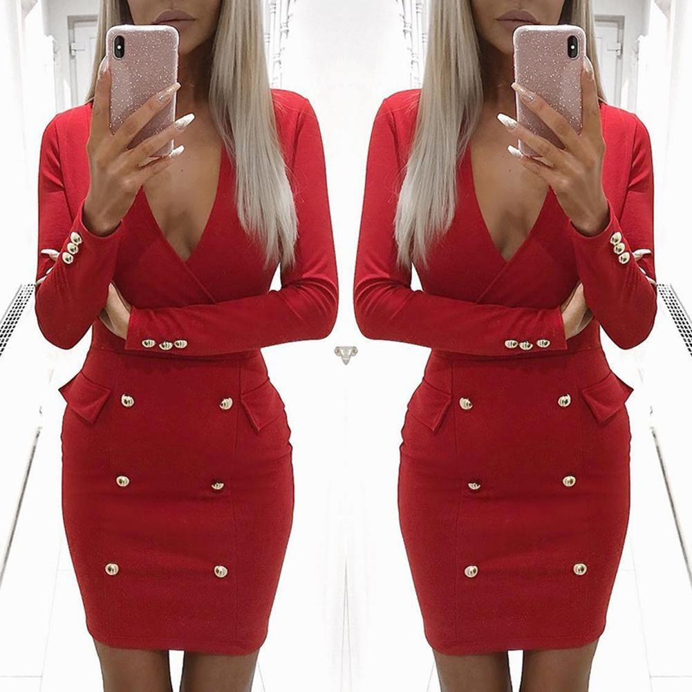 Women V Neck Bodycon Pencil Party Dress - monaveli - Cocktail & Evening Dresses - Women V Neck Bodycon Pencil Party Dress - mymonaveli.com