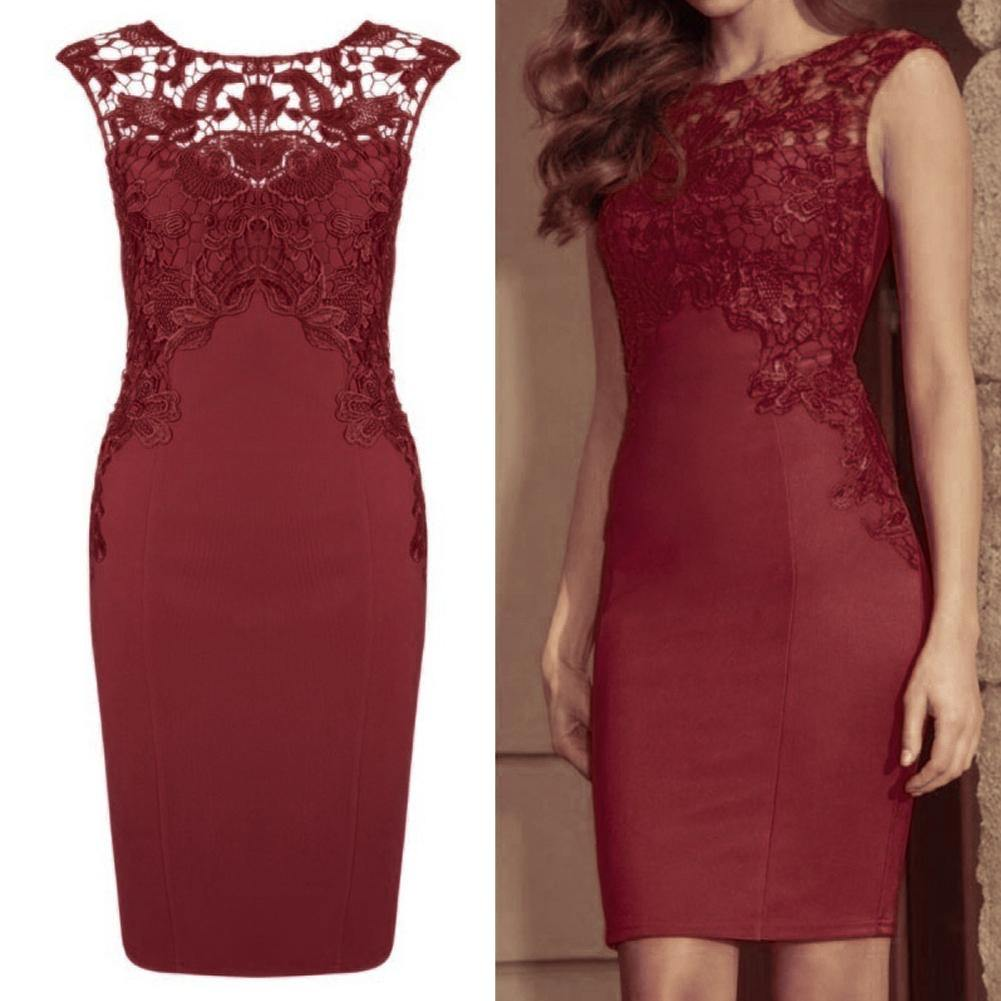 Women Sexy Hollow Lace Embroidery Slim Bodycon Dress - monaveli - Casual Dresses - Women Sexy Hollow Lace Embroidery Slim Bodycon Dress - mymonaveli.com