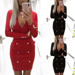 Load image into Gallery viewer, Women V Neck Bodycon Pencil Party Dress - monaveli - Cocktail & Evening Dresses - Women V Neck Bodycon Pencil Party Dress - mymonaveli.com