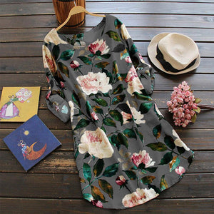 Women Floral Flower Roll up Sleeve Loose Dress