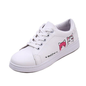 Lace Up Cartoon Cat Sneakers - monaveli -  - eprolo Lace Up Cartoon Cat Sneakers - mymonaveli.com
