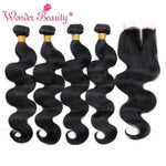 Load image into Gallery viewer, Brazilian Body Wave Hair Extensions 4 bundles With Closure