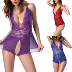 Load image into Gallery viewer, Women's Sexy V-Neck Lace Open Crotch Nightwear - monaveli - Sexy Underwear - Women's Sexy V-Neck Lace Open Crotch Nightwear - mymonaveli.com