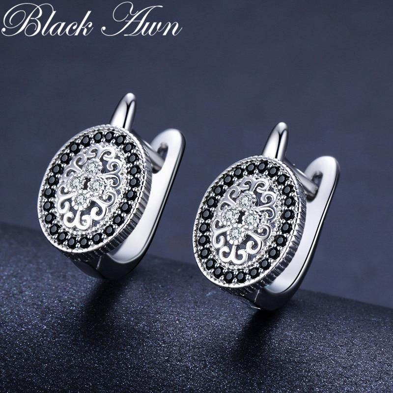 Sterling Silver Round Black Trendy Spinel Engagement Hoop Earrings for Women - monaveli -  - Sterling Silver Round Black Trendy Spinel Engagement Hoop Earrings for Women - mymonaveli.com