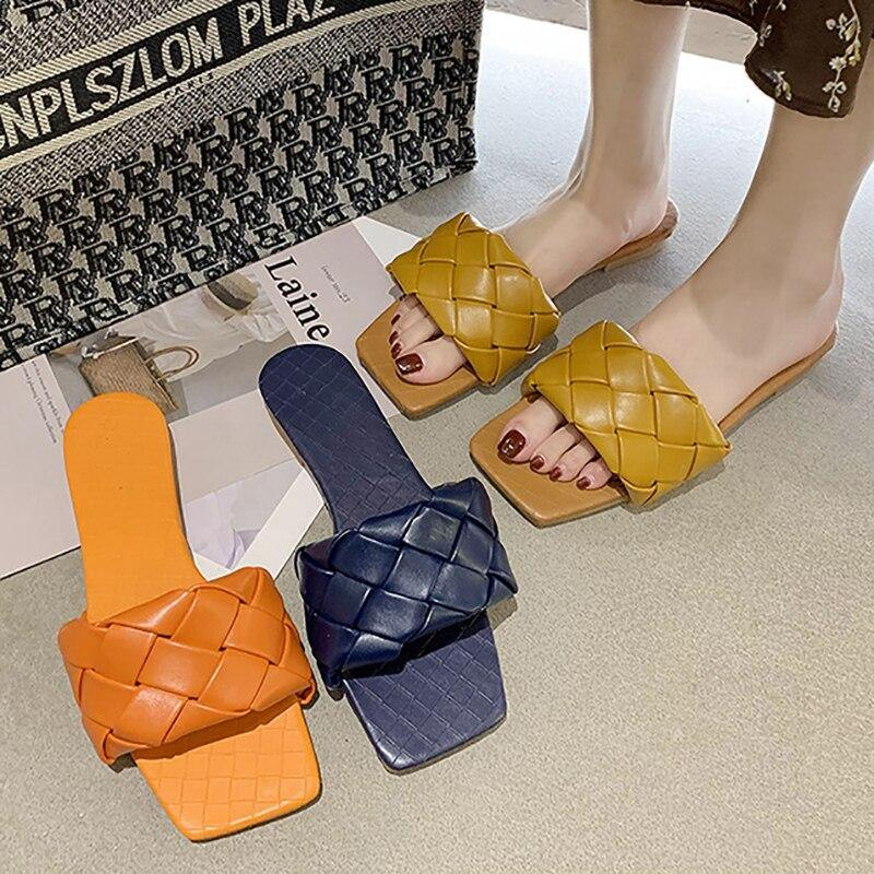 Square Toe Weave Flat Slippers - monaveli -  - Square Toe Weave Flat Slippers - mymonaveli.com