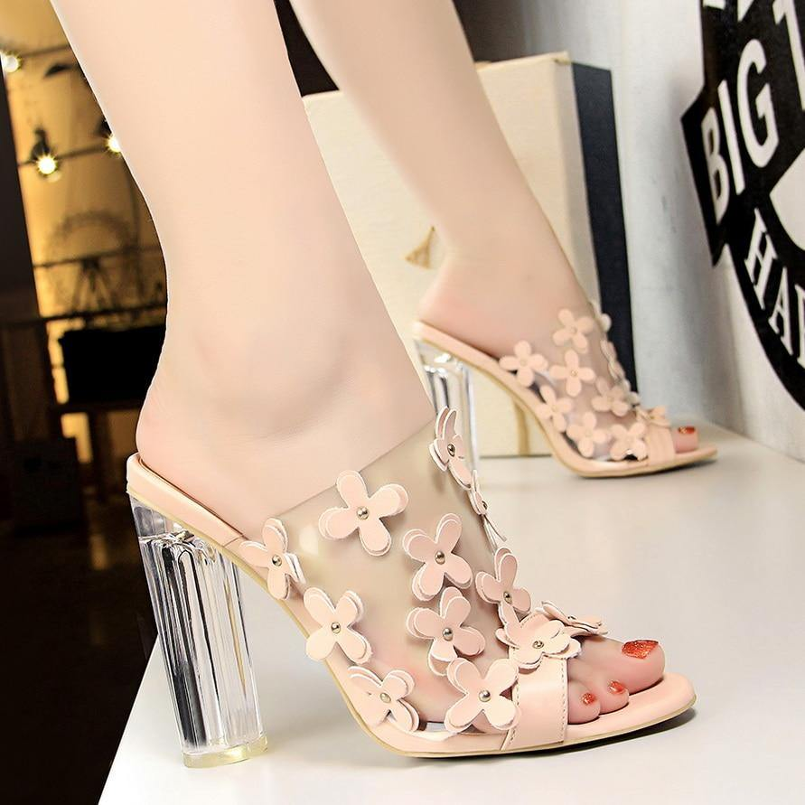 Transparent Crystal Floret High Heels - monaveli -  - Transparent Crystal Floret High Heels - mymonaveli.com