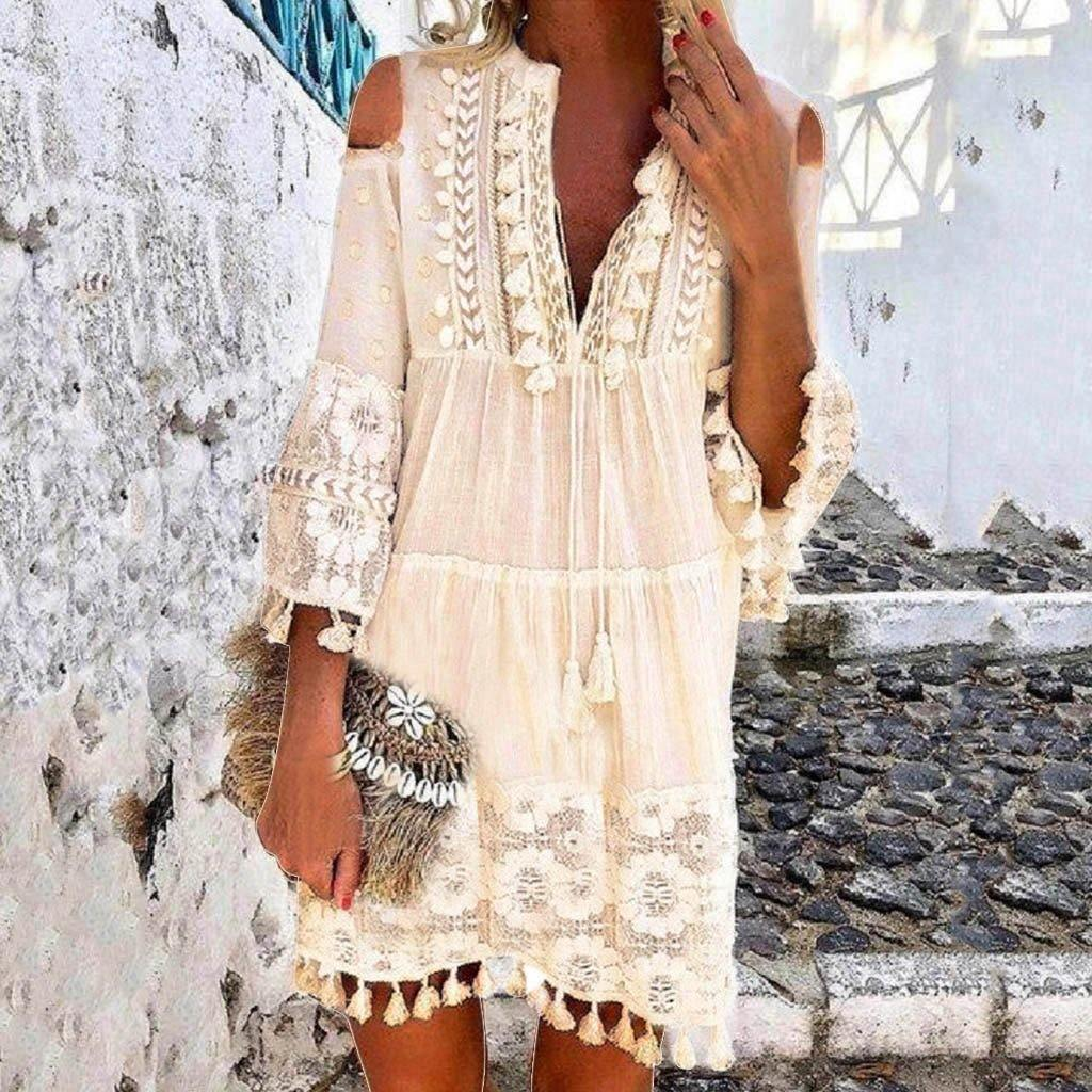 Fashion Casual Bohemian Large Size V-Neck Solid Color Lace Tassel Short Dress Cocktail beach evening dress robe grande taille -  - monaveli - monaveli