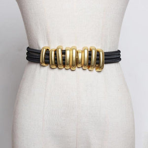 [EAM]  Black Elastic Band Split Joint Metal Circle Long Belt Personality Women New Fashion Tide All-match Spring 2020 1R113 -  - monaveli - monaveli