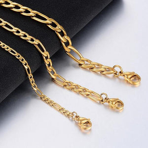 Gold Silver Color Stainless Steel Figaro Chain Jewelry - monaveli -  - Gold Silver Color Stainless Steel Figaro Chain Jewelry - mymonaveli.com