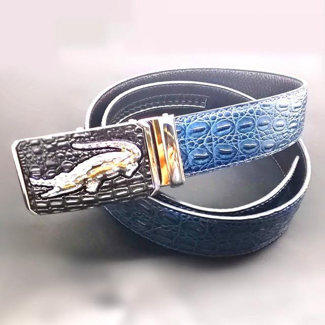 Men High Quality Genuine Leather belts luxury Brand Silver Gold Ceinture mens crocodile belts designer cinturones para hombre -  - monaveli - monaveli