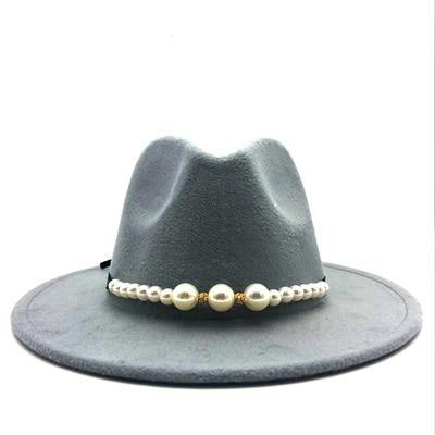 Wide Brim Fedora Hat With Pearl - monaveli -  - Wide Brim Fedora Hat With Pearl - mymonaveli.com