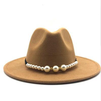 Wide Brim Fedora Hat With Pearl