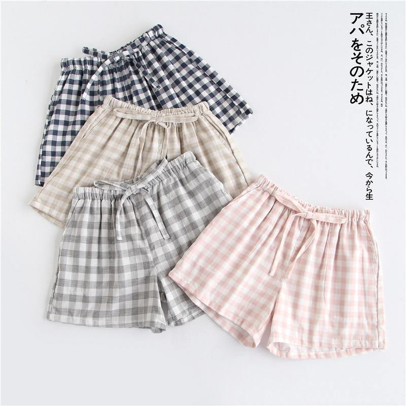 Couple pajamas summer cotton gauze shorts Japanese style simple elastic waist casual large size lattice men and women home pants -  - monaveli - monaveli