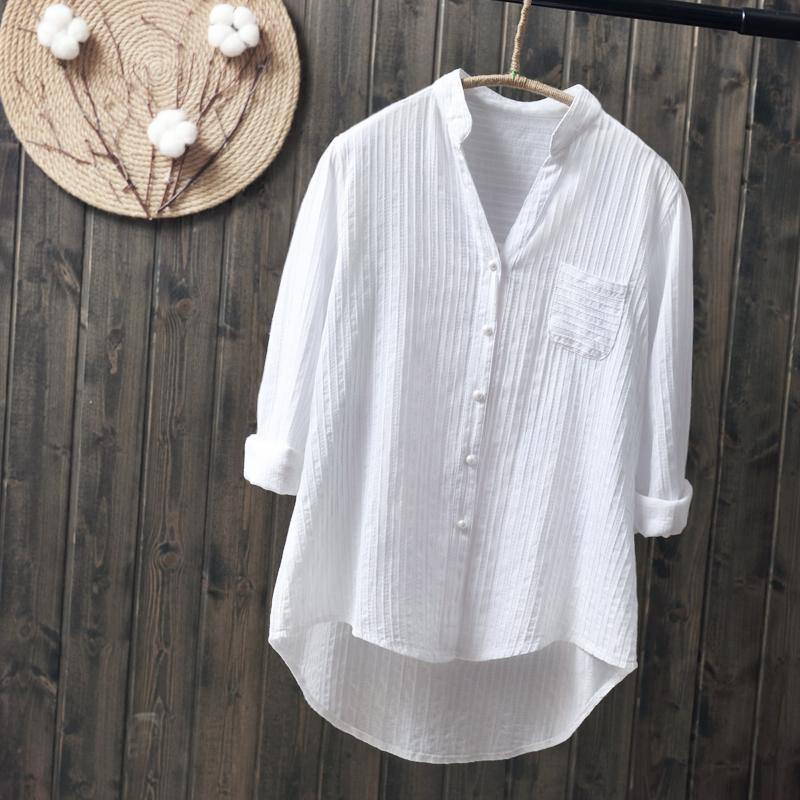 100% cotton womem white shirts 2020 summer new v-neck casual long-sleeved office lady white shirts tops top quality -  - monaveli - monaveli