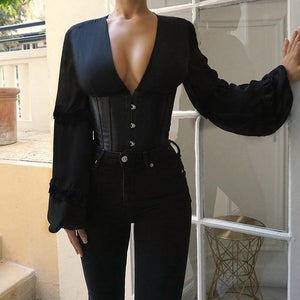Girdle Hook Bandage Women Blouse Ruffles Rivet Deep V Neck Lantern Sleeve Female Blouses 2020 Spring Summer Patchwork Ladies Top -  - monaveli - monaveli