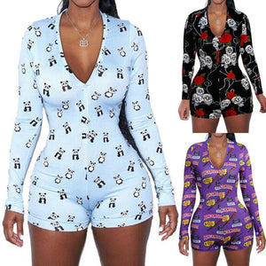2020 Sexy Women Deep V-neck Bodycon Sleepwear Jumpsuit Button Bodysuit Shorts Romper Floral Leotard Long Sleeve Print Tracksuit -  - monaveli - monaveli