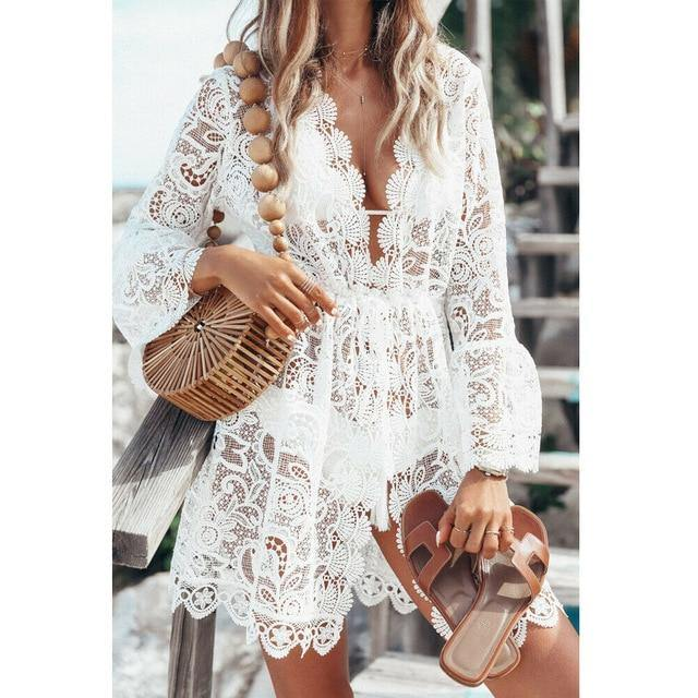 Hot sale Autumn Lace Croche Women sexy Crochet Bikini Cover Up Floral White Black Bathing Swimwear Beach Suit Summer Dress Tops -  - monaveli - monaveli