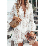 Load image into Gallery viewer, Hot sale Autumn Lace Croche Women sexy Crochet Bikini Cover Up Floral White Black Bathing Swimwear Beach Suit Summer Dress Tops -  - monaveli - monaveli