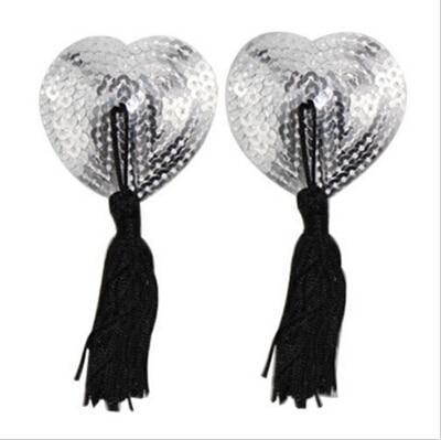 1 Pair Sexy Pasties Stickers Women Lingerie Sequin Tassel Breast Bra Nipple Cover Self Adhesive Heart Shape Bra Nipple Cover -  - monaveli - monaveli
