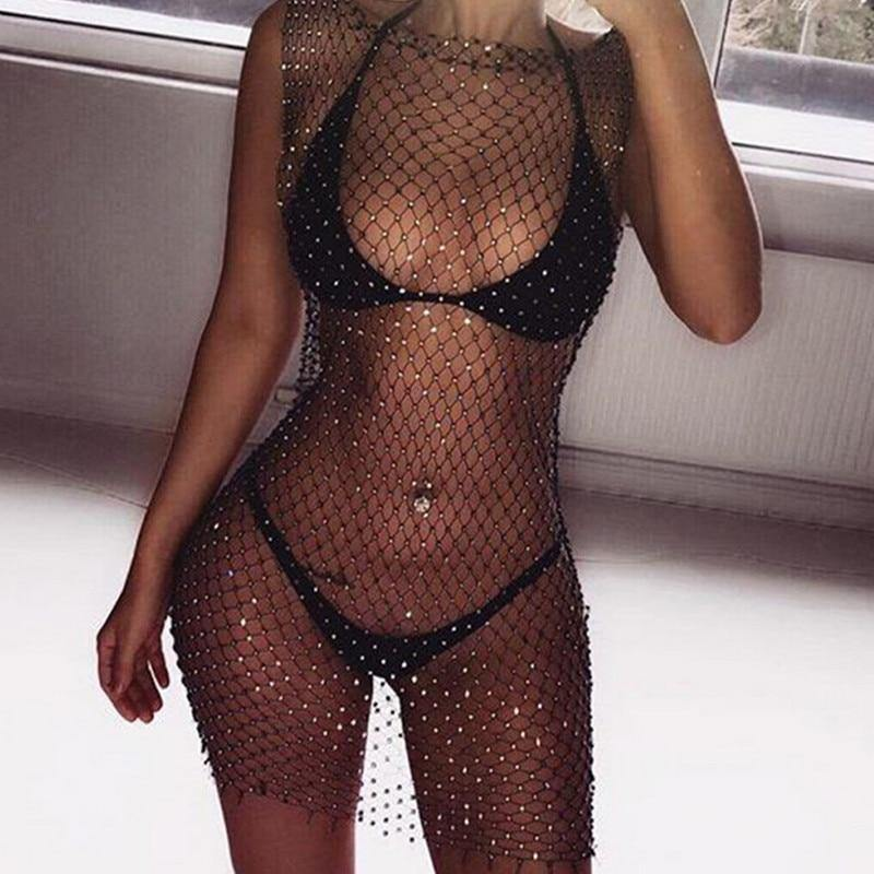 Women Bikini Bling Crystal Cover Up Tops Sexy Fishnet Hollow Out See Through Swimsuit Swimwear Tops Black White -  - monaveli - monaveli