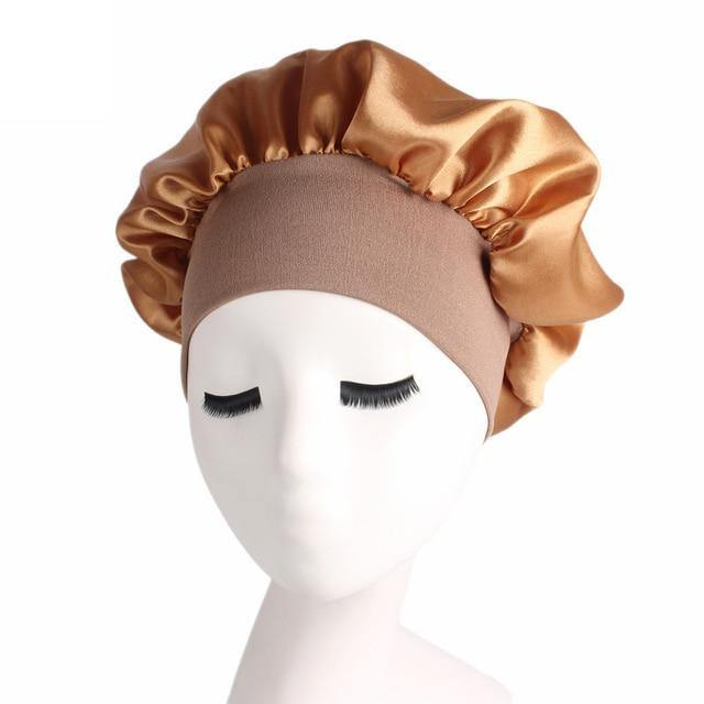 Satin cloth Solid Wide-brimmed Sleeping Hat Reversible adjustable size Sleep Night Cap Hair Care elastic Bonnet for women gifts -  - monaveli - monaveli