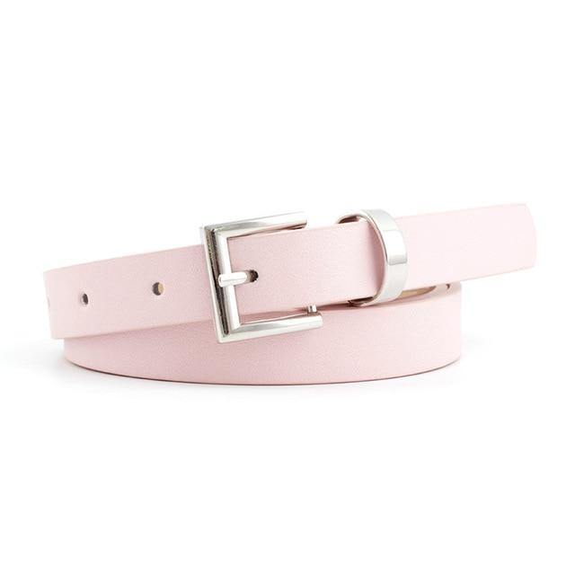 2020 New Designer Women's Narrow Thin Black Brown White Pink Leather Waist Belt Female Vintage Pin Buckle Belts for Women Dress -  - monaveli - monaveli