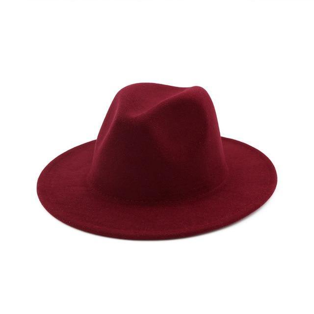 2019 Autumn Winter Womens Felt Hat Fedoras Big Brim Hats For Women British Style Vintage Church Hats Lady Flat Brim Fedoras -  - monaveli - monaveli