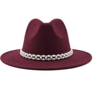 Fedora Jazz Hat With Pearl Ribbon - monaveli -  - Fedora Jazz Hat With Pearl Ribbon - mymonaveli.com