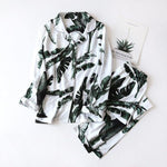 Load image into Gallery viewer, Women's Summer Two-piece Home Suit for Spring and Summer Thin Long-sleeved Viscose Cotton Pants Pajamas Women Summer Cotton Suit -  - monaveli - monaveli