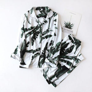 Women's Summer Two-piece Home Suit for Spring and Summer Thin Long-sleeved Viscose Cotton Pants Pajamas Women Summer Cotton Suit -  - monaveli - monaveli