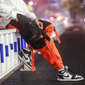 Men Cargo Pants Black Ribbons Block Multi-Pocket 2020 Harem Joggers Harajuku Sweatpant Hip Hop Casual Male Trousers -  - monaveli - monaveli