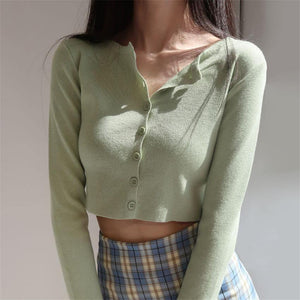 Korean Style O-neck Short Knitted Sweaters Women Thin Cardigan Fashion Short Sleeve Sun Protection Crop Top Ropa Mujer -  - monaveli - monaveli