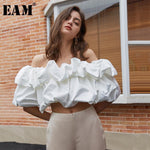 Load image into Gallery viewer, [EAM] Women White Ruffles Split Joint Blouse New Slash Neck Short Sleeve Loose Fit Shirt Fashion Tide Spring Summer 2020 1U703 -  - monaveli - monaveli