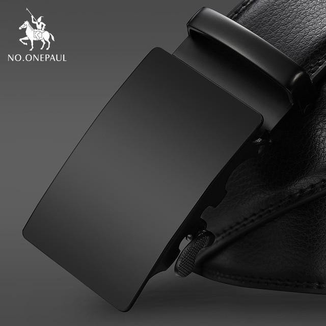 NO.ONEPAUL Brand Fashion Automatic Buckle Black Genuine Leather Belt Men's Belts Cow Leather Belts for Men 3.5cm Width WQE789 -  - monaveli - monaveli