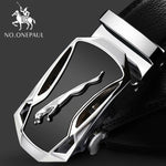Load image into Gallery viewer, NO.ONEPAUL Brand Fashion Automatic Buckle Black Genuine Leather Belt Men's Belts Cow Leather Belts for Men 3.5cm Width WQE789 -  - monaveli - monaveli