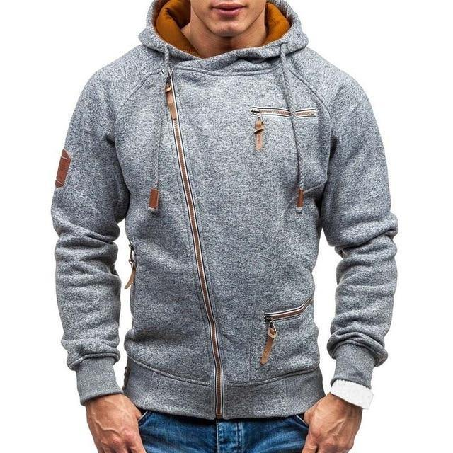 New Hoodie Men 2019 Spring Casual Solid Long Sleeve Mens Hoodies Sweatshirts Slim Zipper Hoody Sweatshirt Men Hooded Streetwear -  - monaveli - monaveli
