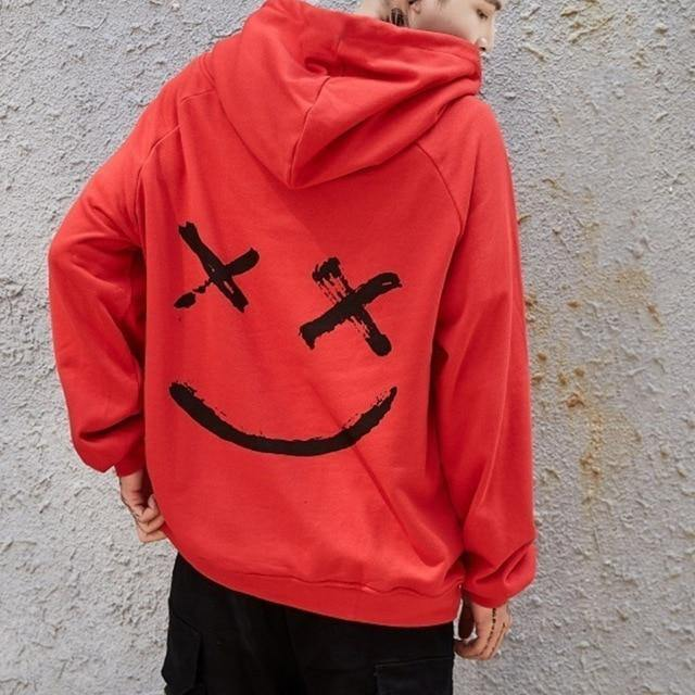 Men Smile Hoodies 2019 Winter Hip Hop Print Oversized Sweatshirts Fashion Patchwork Unisex Couple Streetwear Men Women Hoodies -  - monaveli - monaveli