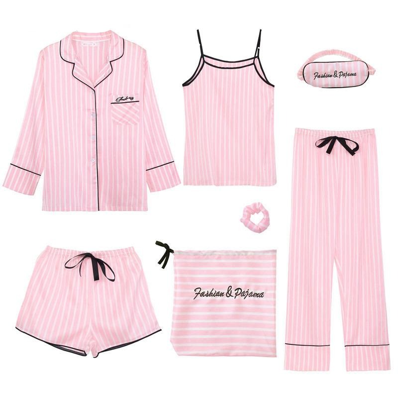 7 Pcs Pink Women's Pajamas Set - monaveli -  - 7 Pcs Pink Women's Pajamas Set - mymonaveli.com
