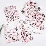 Load image into Gallery viewer, 7 Pcs Pink Women's Pajamas Set - monaveli -  - 7 Pcs Pink Women's Pajamas Set - mymonaveli.com