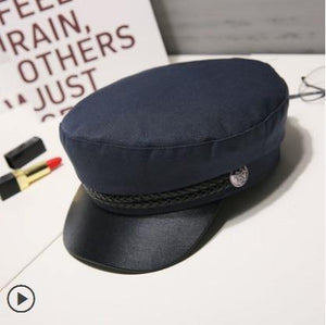 Fashion Unisex PU Leather Military Hat Autumn Sailor Hats For Women Men Black Grey flat top  Female travel cadet hat Captain Cap -  - monaveli - monaveli