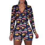 Load image into Gallery viewer, 2020 Sexy Women Deep V-neck Bodycon Sleepwear Jumpsuit Button Bodysuit Shorts Romper Floral Leotard Long Sleeve Print Tracksuit -  - monaveli - monaveli