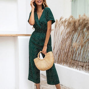 Lossky Women Jumpsuits Rompers Summer Casual Print V-neck Pocket Overalls Jumpsuit Short Sleeve Wide Leg Loose Jumpsuit -  - monaveli - monaveli