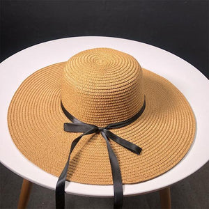 New Product Straw Hats Ma'am Leisure Go On A Journey Bow Straw Hat Outdoors On Vacation Sunscreen Will Eaves Sun Hat -  - monaveli - monaveli