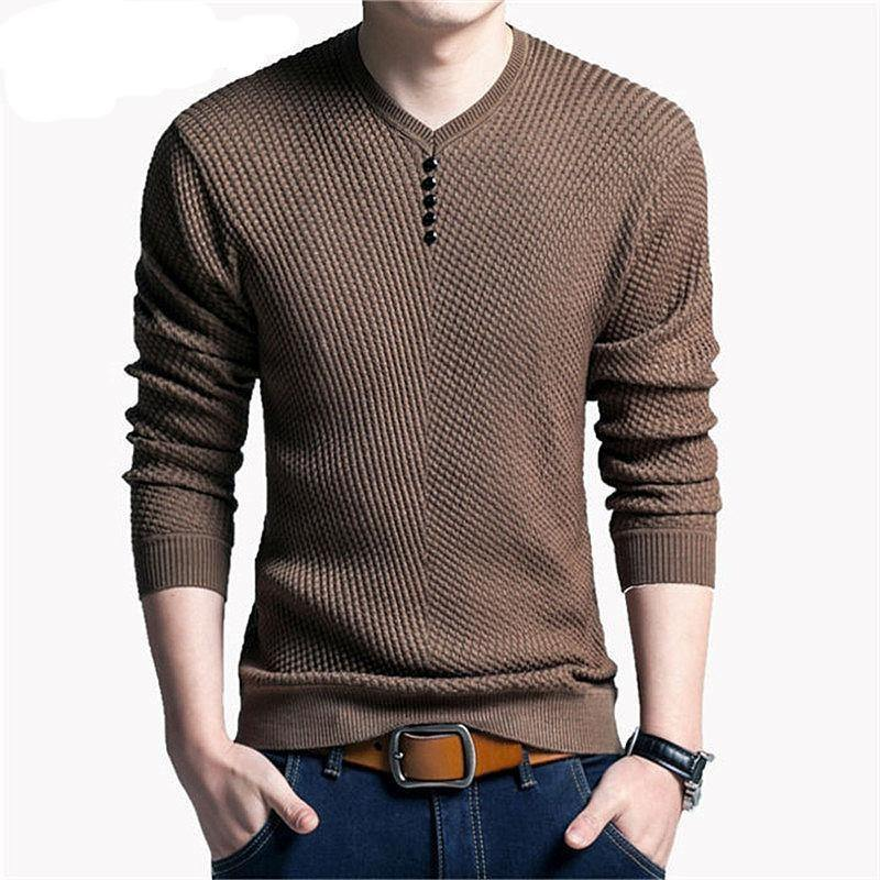 COODRONY Sweater Men Casual V-Neck Pullover Men Autumn Slim Fit Long Sleeve Shirt Mens Sweaters Knitted Cashmere Wool Pull Homme -  - monaveli - monaveli