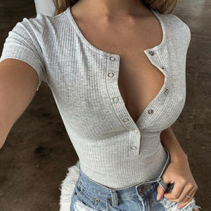 Women Sexy Knitted Bodysuits Summer Stretchy Short Sleeve Slim Thong Bodysuit Jumpsuit Bodycon Women Leotard Body Top Clubwear -  - monaveli - monaveli