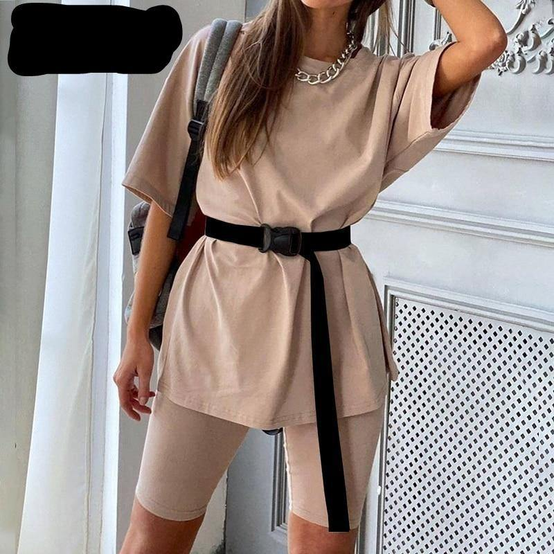 Simplee Casual solid outfits women's two piece suit with belt Home loose sports tracksuits fashion leisure bicycle suit summer -  - monaveli - monaveli