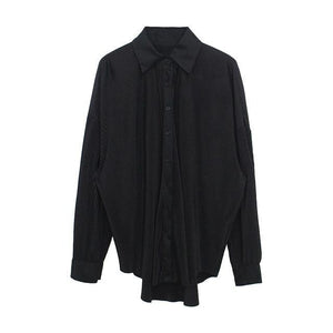 [EAM] Women Gray Pleated Split Big Size Blouse New Lapel Long Sleeve Loose Fit Shirt Fashion Tide Spring Autumn 2020 1W495 -  - monaveli - monaveli