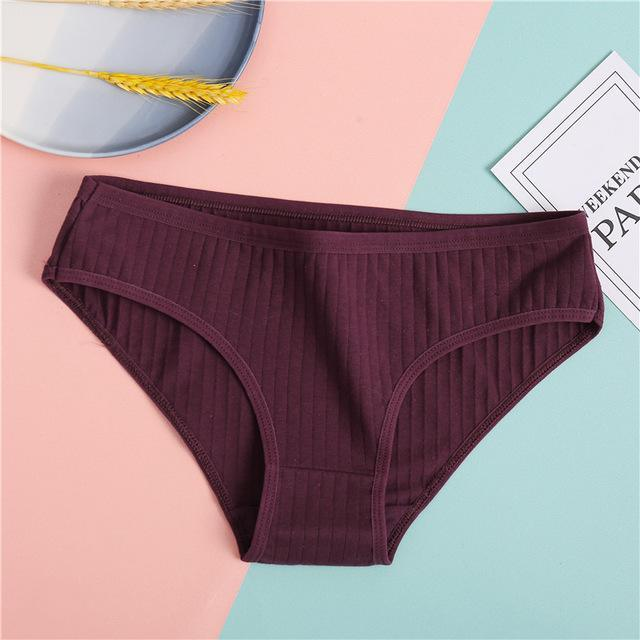 FINETOO Women's Underpants Soft Cotton Panties Girls Solid Color Briefs Striped Panty Sexy Lingerie Female Underwear M-XL Panty -  - monaveli - monaveli