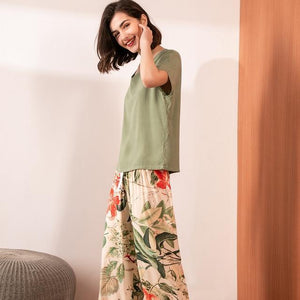 Summer Pajamas Set Women Comfortable Cotton Viscose Contrasting Color Pajamas Short Sleeve Tops with Long Trousers Ladies Pj Set -  - monaveli - monaveli