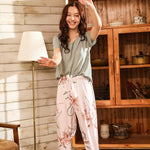 Load image into Gallery viewer, Summer Pajamas Set Women Comfortable Cotton Viscose Contrasting Color Pajamas Short Sleeve Tops with Long Trousers Ladies Pj Set -  - monaveli - monaveli